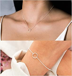 Happrrow Simple Open Circle Necklace for Women Dainty Karma Bracelet for Teen Girls Jewerly Set