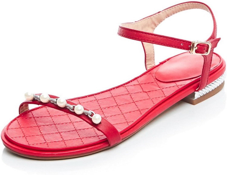 AdeeSu Girls Beaded Open-Toe Leather Sandals