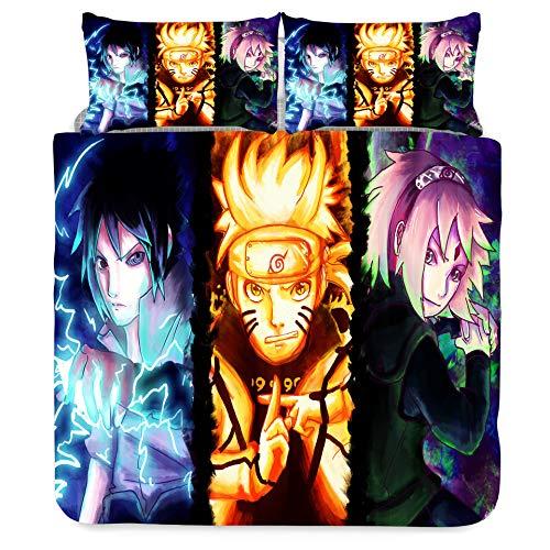 Jiaxiin Naruto - Uchiha Sasuke, Uzumaki Naruto and Haruno Sakura Juego de Funda nórdica para Ropa de Cama 3 Piezas Funda de edredón Funda de Almohada de algodón (EU-SuperKing)