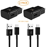 Adaptive Fast Wall Charger and 4-Feet USB Type C Data Cable Kit Compatible with Samsung Galaxy...