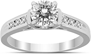 AGS Certified 1 Carat TW Engagement Diamond Ring in 14K White Gold (I-J color, I2-I3 Clarity)