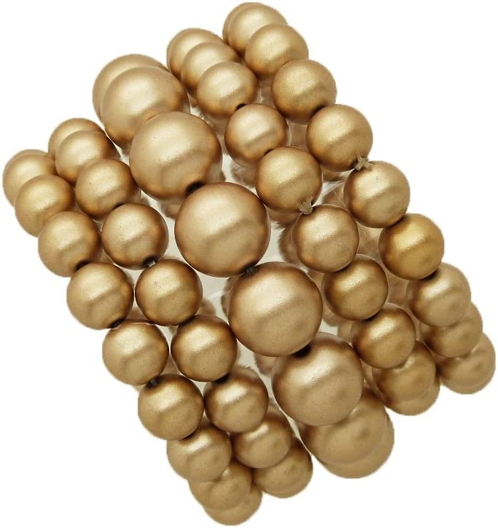 Women's Simulated Pearl Stretch Bracelet Stack 5 Piece Set (Matte Gold)