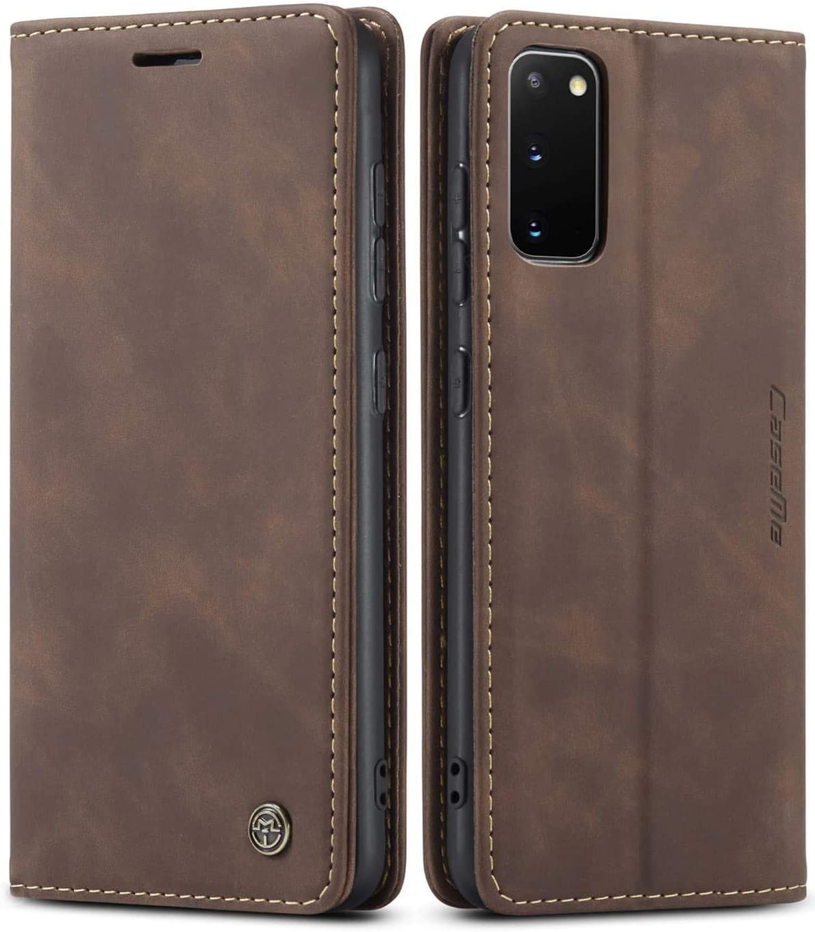SINIANL Samsung Galaxy S20 Case, Galaxy S20 Leather Case, Vintage Wallet Case Book Folding Flip Case with Kickstand Card Holders Slots Magnetic Closure Protective Cover for Galaxy S20 Coffee