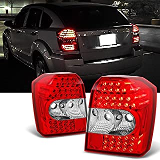 For 2007 2008 2009 2010 2011 2012 Dodge Caliber Replacement Left + Right Red Clear LED Tail Lights Lamps