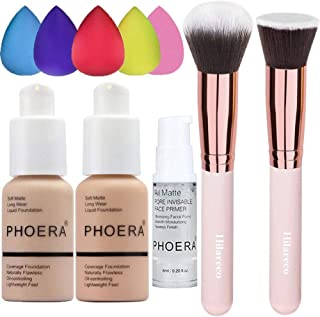 PHOERA Foundation 102 and 103 & Face Primer,Liquid Full Coverage Foundation Set,Foundation Brush Powder Brush,5 Makeup Spo...