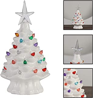 XINdream Ceramic Tabletop Christmas Tree, White Xmas Tree Decorative with Multicolored Lights and Star Holiday Centerpiece, 8x5inch