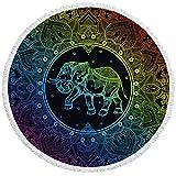 Toalla de Playa de Microfibra 3D Mandala Colorido patrón de Elefante Toalla de Playa Redonda Toalla Absorbente súper Suave Toalla de baño