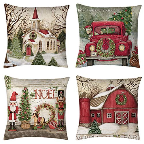 vigvog Waterproof Christmas Cushion Covers, Grid Pillow Covers Set of 4, Santa Reindeer Truck Snowman Farmhouse Pillow Case, Home Decoration (Red-Christmas1)