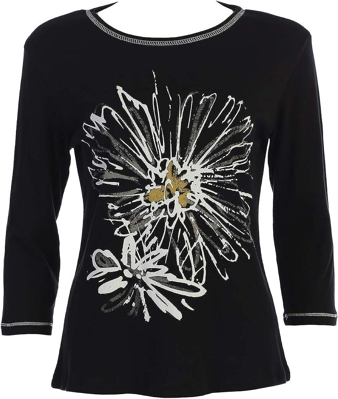 Jess Jane Mono Flower Cotton Black Top Nashville-Davidson Mall in Mail order cheap 14-1165