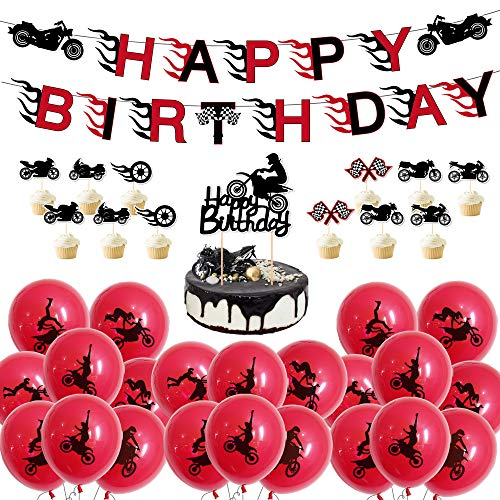 Motorcycle Theme Party Supplies Happy Birthday Banner - 24pcs Motorcycle Scooter Cupcake Topper-1pc Cake Toppers - 50pcs Ballons Party Photo Prop Decorations Sign