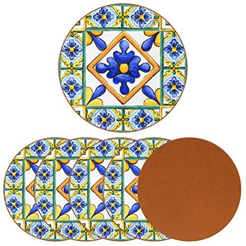 Set di 6 sottobicchieri per bevande – Set di sottobicchieri – Regalo di inaugurazione della casa – Set di 6 ornamenti sulle piastrelle acquerello Spagna italy Maiolica ornamento floreale