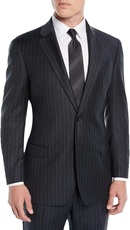 P&G Men's Pinstripe Two Pieces Suit Two Buttons Business Wedding Party Jacket Pants Set