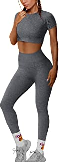 OYS Workout Sets for Women 2 Piece Outfits Seamless High Waist Yoga Leggings Running Sports Crop Top Gym Sets