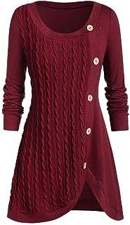 Suéteres Mujer Punto Suéter de Moda Cuello Redondo Manga Larga Oversize Patchwork Jerseys Sudaderas Blusas Cálido de Invie...