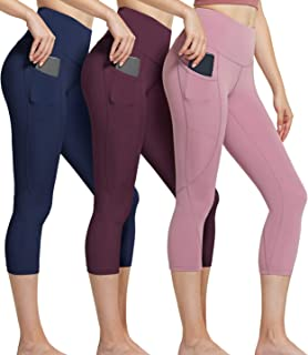 ATHLIO (Pack of 3 High Waist Yoga Pants with Pockets, Tummy Control Yoga Leggings, 4 Way Stretch Non See-Through Workout R...