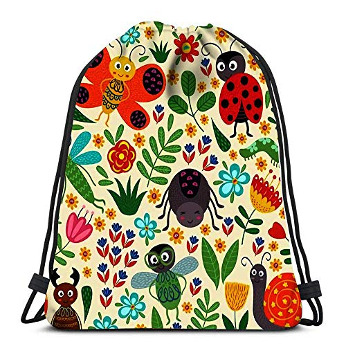 WH-CLA Unisex Drawstring Bags,Beetle Ladybug Bee Dragonfly Snail Flowers Spider Casual Sackpack Backpack Foldable Tote Sack Cinch Bag Sport Gym Bag For School Traveling Swimming