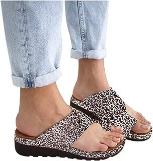 SSYUNO Women's 2019 New Comfy Platform Toe Ring Wedge Sandals Shoes Summer Beach Travel Shoes Comfortable Flip Flop Shoes