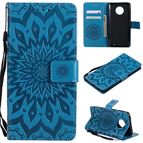 Laybomo für Motorola Moto G6 Plus 2018 Ledertasche Schuzhülle Weiches TPU Silikon Cover Stehen Brieftasche Schale Handyhülle für Moto G6 Plus (2018) mit Kartensteckplatz, Blumenprägung (Blau)