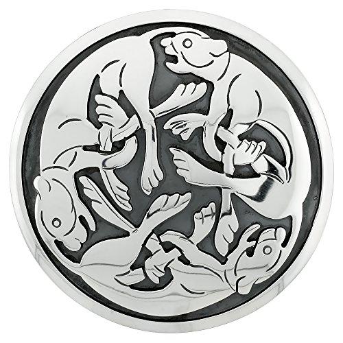 Sterling Silver Celtic Lion Mandala Pendant Brooch-Pin, 2 inch