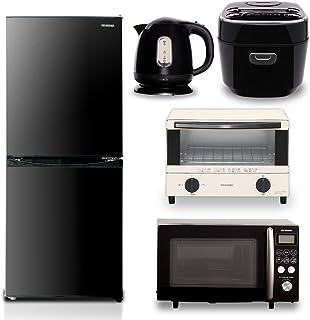 【5点セット買い】アイリスオーヤマ 冷蔵庫142L ブラック + 炊飯器 3合 ブラック + オーブンレンジ 15L ブラック + トースター ホワイト + ケトル ブラック