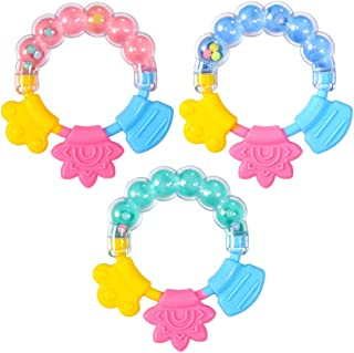 Molar Finger Chewing Plaything Teether3 Pcs Baby Rattle Teether Toy Teeth Grinding Toy Shaking Bell Toy Baby Soothing Teet...