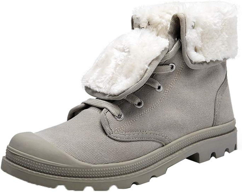 Ailj Canvas shoes, Winter Cotton shoes Waterproof Canvas Upper Couple Casual shoes Flat shoes Two Ways To Wear (2 colors) (color   A, Size   EU 40 US 7.5 UK 6.5 JP 25cm)