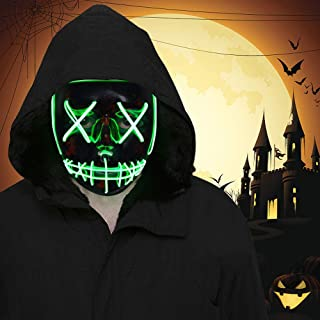 FLY2SKY Halloween Mask Light Up Toys 1PCS Green LED Light Up Mask LED Mask Glowing Mask Frightening Luminous Halloween Cosplay LED Purge Mask for Festival Entertainment Halloween Party Favors for Kids