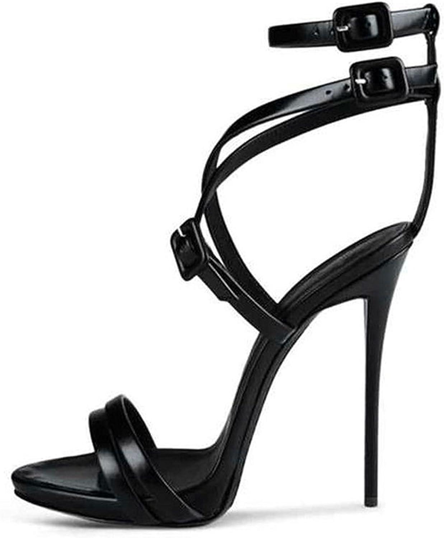 Nansay Women's shoes Big Size Stiletto High Heels Lady shoes Crisscross Buckle Strap Pumps Solid Sandals