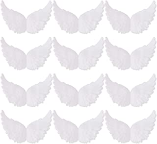 Azude Plastic Angel Wings for Crafts, White 12 pcs 80mm