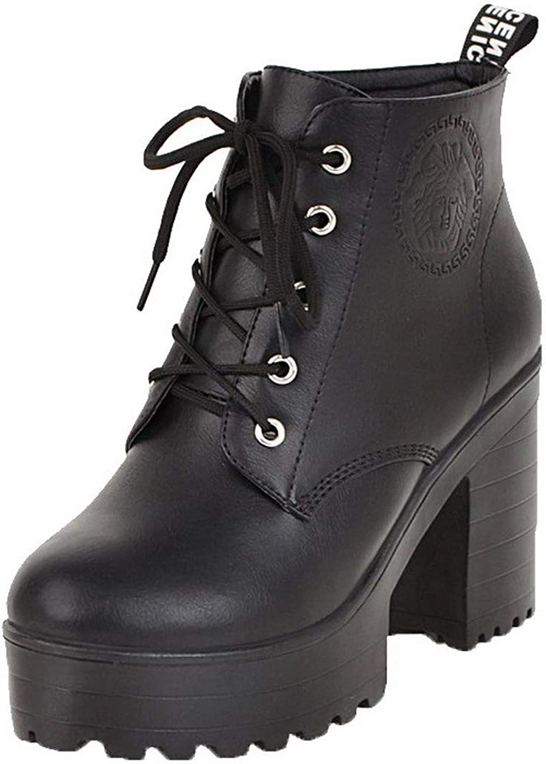 AmoonyFashion Women's Low-Top Lace-Up Pu High-Heels Round-Toe Boots, BUSXT117104