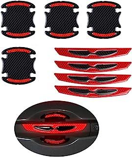 8pcs Universal 3D Carbon Fiber Car Door Handle Paint Scratch Protector Sticker Auto Door Handle Scratch Cover Guard Protec...