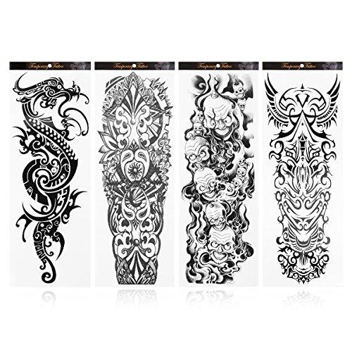 Rosenice Tatuaje tatuaje temporal Tatuajes tatuajes falsos duraderos para hombres 4 hojas