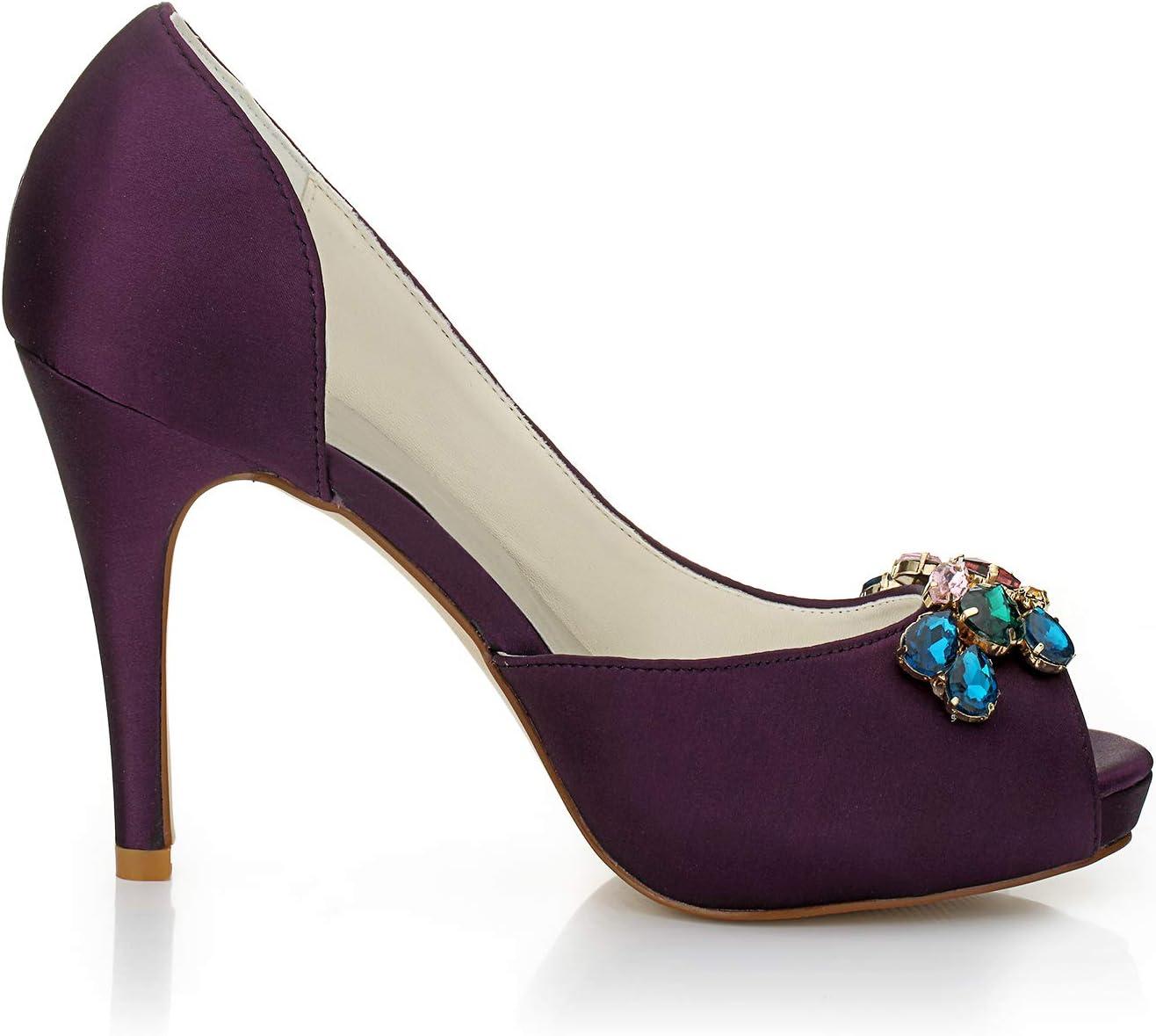 Mevrouw Rechts 154810 vrouwen bruidsschoenen Peep teen hoge hak satijnen pompen strass bruiloft schoenen Paars