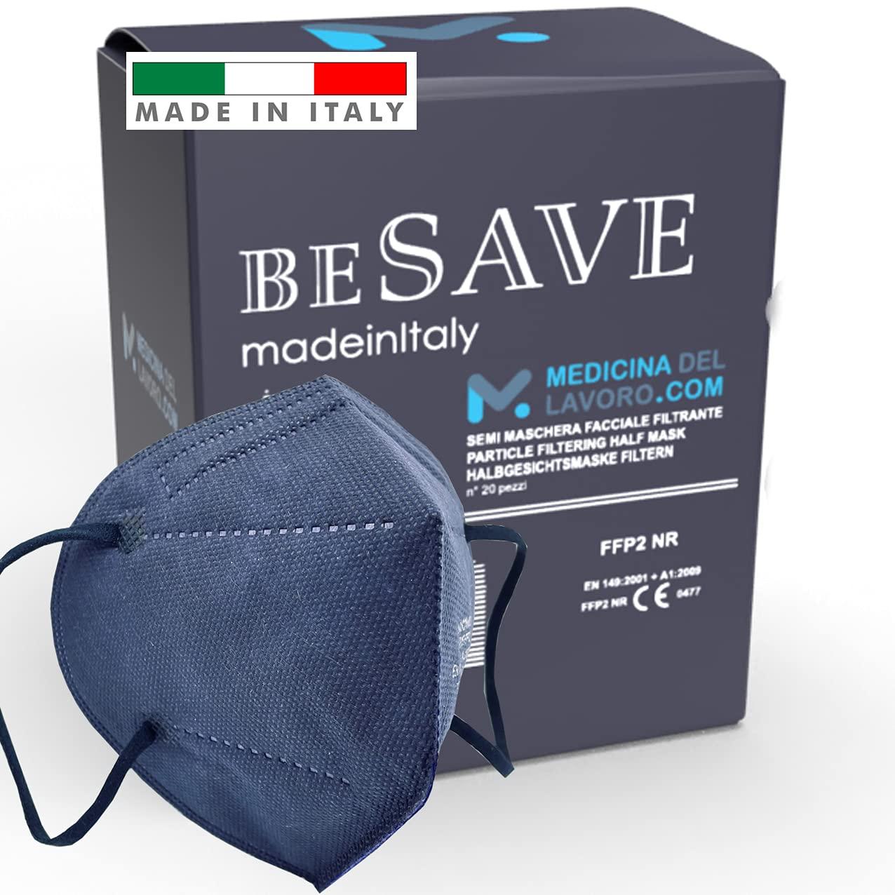 20 Mascarillas FFP2/KN95 Colores Noche Azul Homologadas Certificación CE de 5 Capas, Máscara Protectora, Mascarilla de Protección Personal con Filtros de Calidad BFE≥95, 20 Piezas - Made in Italy
