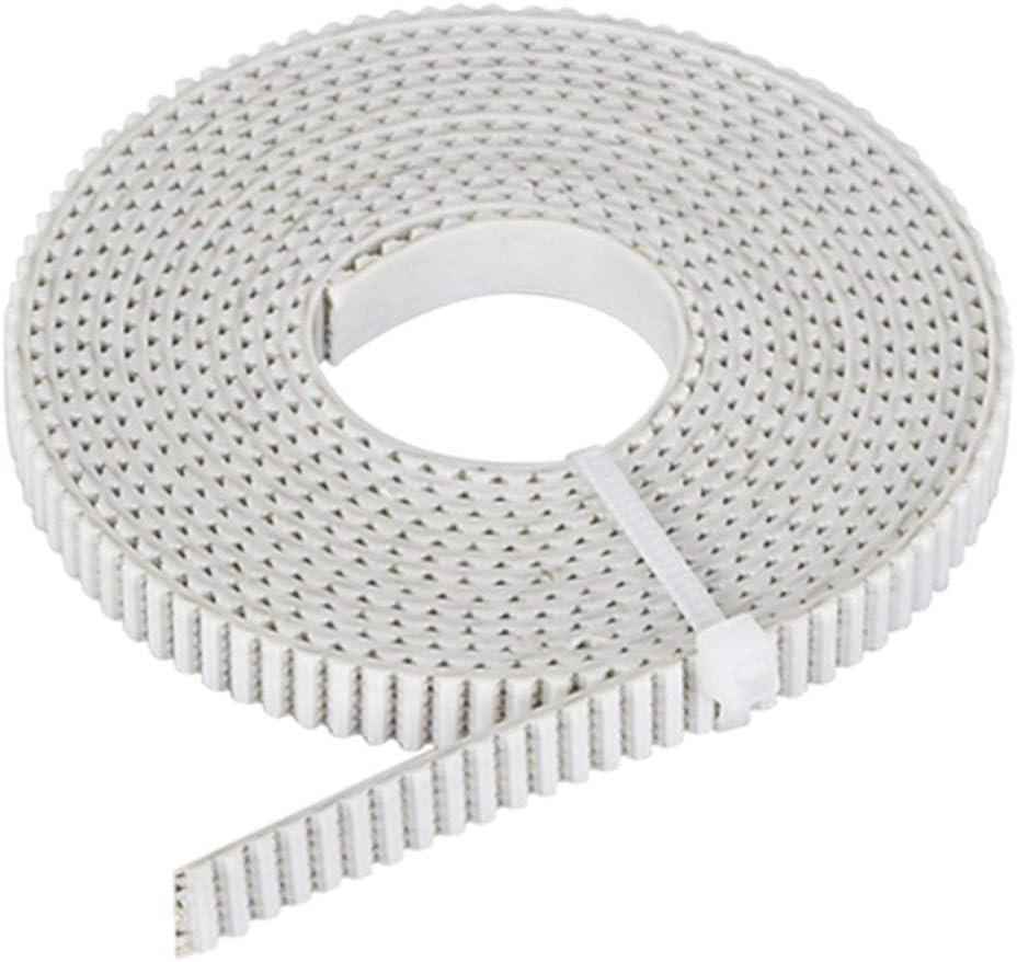 Timing Belt 1pcs 2/5 Meter GT2 PU with Steel Core Timing Belt Width 6/10MM Synchronous Belt Reinforce 2GT for 3D Printer Parts CR10 3D Printer Accessories (Color : White, Size : 5M 6MM)
