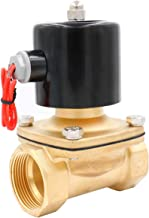 Baomain Brass Electric Solenoid Valve NPT 1-1/2 Inch AC 110V Thread Direct Acting Normally Closed Compatible with Water Air