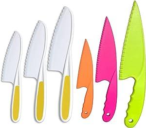 Fansisco 6 Pieces kids Nylon Kitchen Baking Knife Set Kid Plastic Kitchen Knife Set Children's Safe Cooking Knives Set (Ages 6-12) Kids Safe Knife for Fruit, Bread, Cake, Lettuce, Salad (yellow)