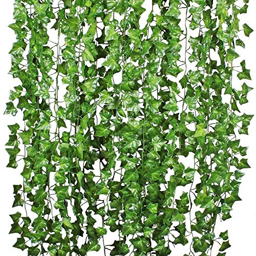 HQdeal 12 Strands Artificial Ivy Garland 78Ft Long Artificial Foliage Leaves Garland Fake Plants Hanging Vine for Wedding Party Garden Outdoor Wall Decoration