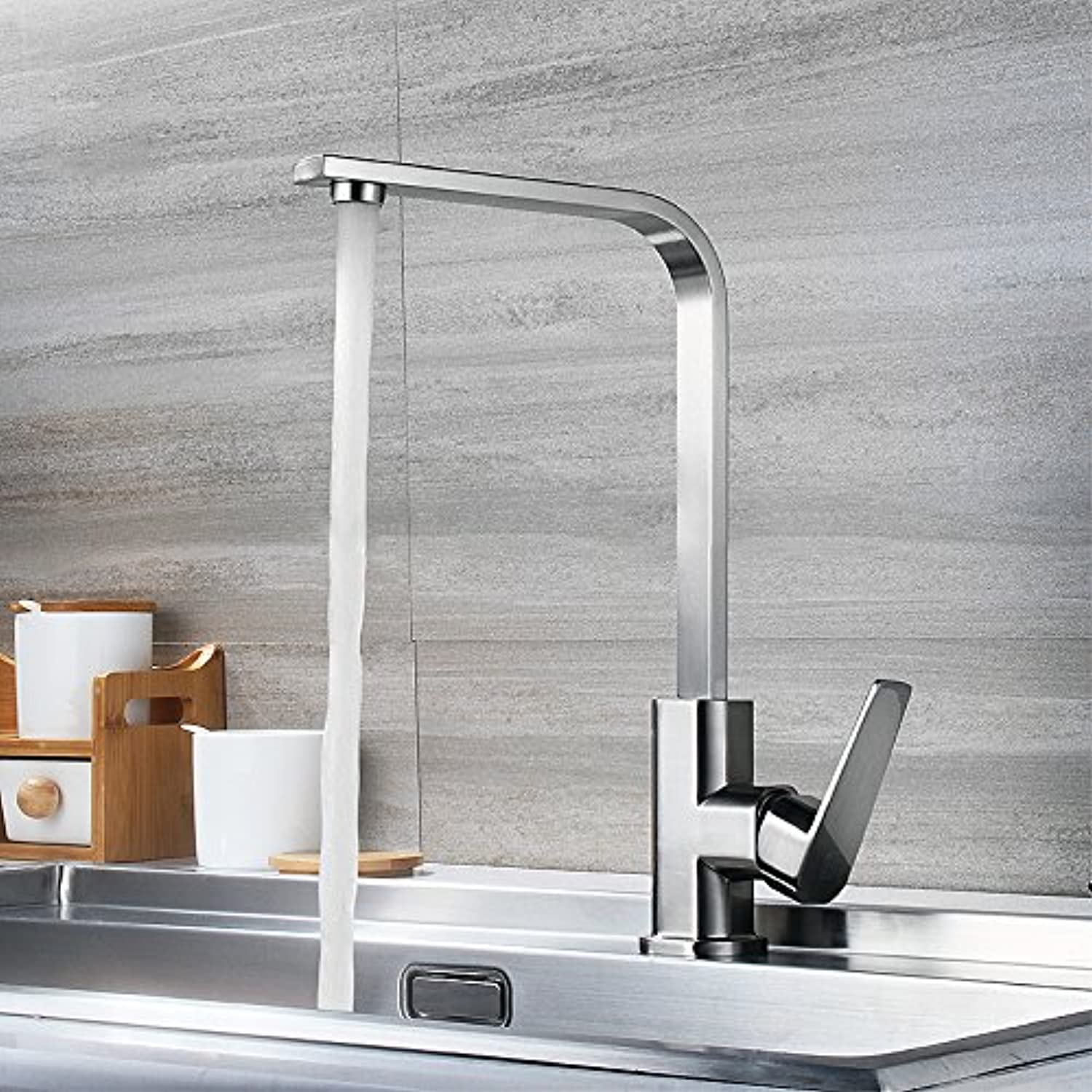 Decorry All Copper Kitchen Sink Faucet 304 Stainless Steel Square Tube Cold Mixed Vegetables Basin Faucet Single Cold Drawing Wash Basin Faucet Ceramic Valve Core redatable, B Whole Copper Wire Drawing Section