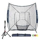 McHom 7' x 7' Baseball & Softball Net Set with Travel Tee, 3...