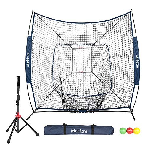 McHom 7  x 7  Baseball & Softball Net Set with Travel Tee, 3 Weighted Balls, Strike Zone & Carry Bag for Hitting & Pitching Practice, Collapsible and Portable
