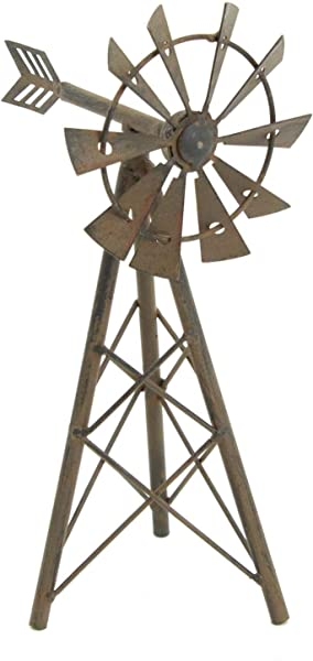 Upper Deck Windmill Farmhouse Style Statue Metal 9 5 Tall 5 25 Long 4 Wide