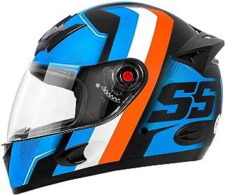 Capacete Moto Mixs MX5 Super Speed Azul com laranja Brilhante 62