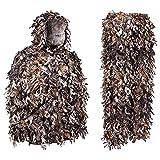 JSQWD Traje de Caza de Camuflaje de Hoja Verde otoño 3D serrado Hoja Camuflaje Traje Jungla Caza de Halloween Traje de Halloween Camuflaje Traje de Caza