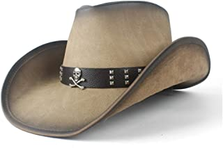 Hats  and Caps Leather Cowboy Hat for Women Men Lady Roll Up Fedora Cowgirl Western Hat with Leather Band (Color : Tan, Size : 58-59)
