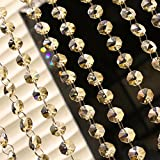10 x 1m Guirnalda con Colgantes de Cristal Acrílico Clear octogonal de acrílico del grano Garland decoración de boda Cortina Decorativa Nupcial y de Fiesta (Champagne)