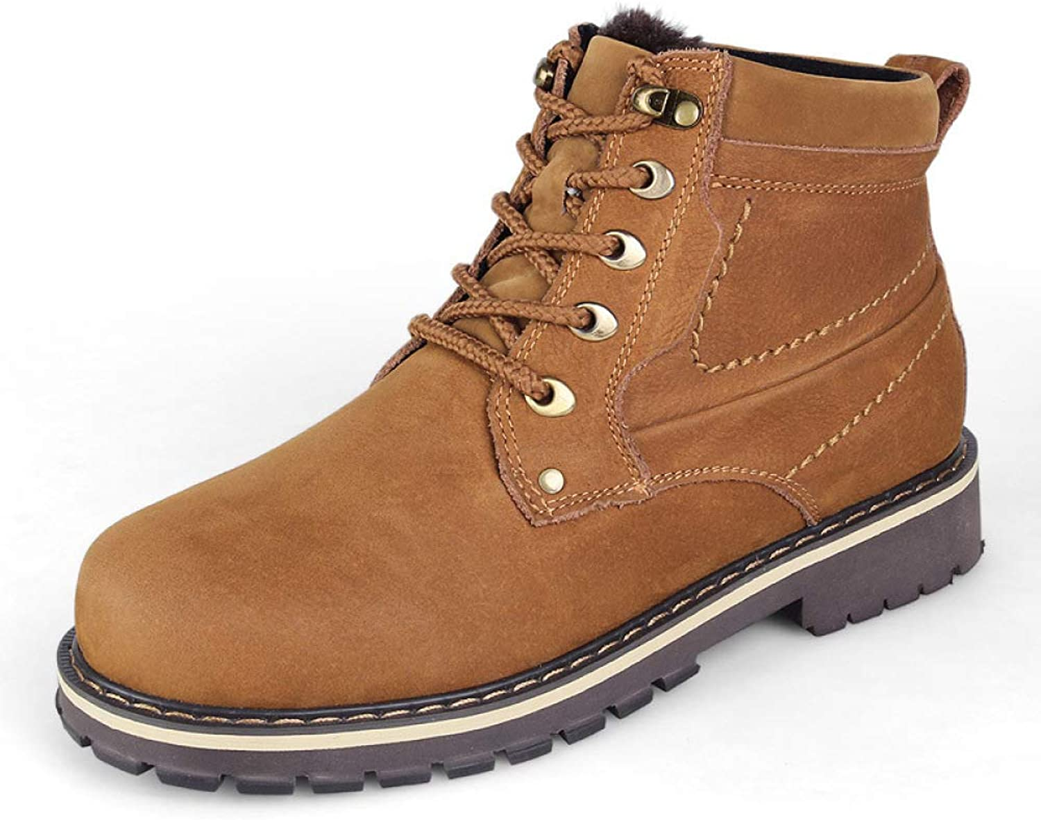 ef36aa40942f3 Leather Martin and Velvet Snow Boots Men's Winter Warm and ...