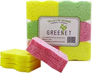 Greenet Cellulose Cleaning Sponges - Pack of 24 100% Natural Kitchen Scrub Sponges + 2 Heavy Duty Scouring Pads - Super Du...