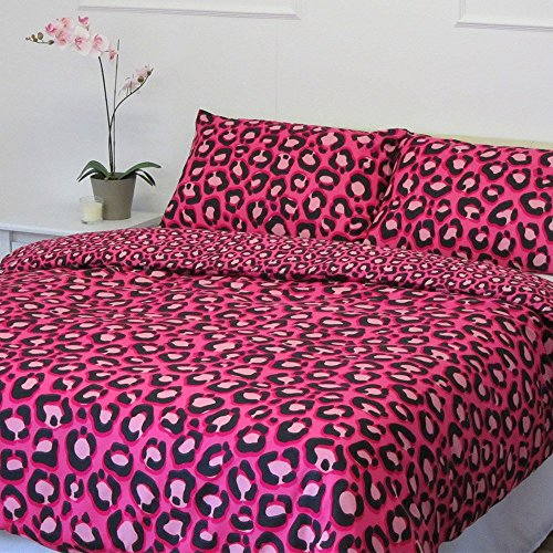 Dreamscene Leopard Print Duvet Cover Bedding Set With Pillowcases Complete Bedding Set, Pink, Double
