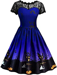 Aniywn Women Short Sleeve A Line Dress Retro Elegant Lace Halloween Party Dress Pumpkin Swing Dress